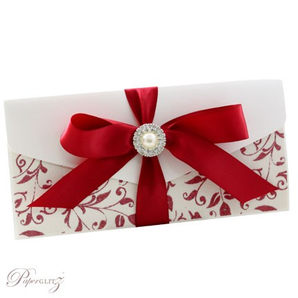 Example of a decorated Paperglitz Pocket Fold Invitation - DL Pouch in Crystal Perle Diamond White