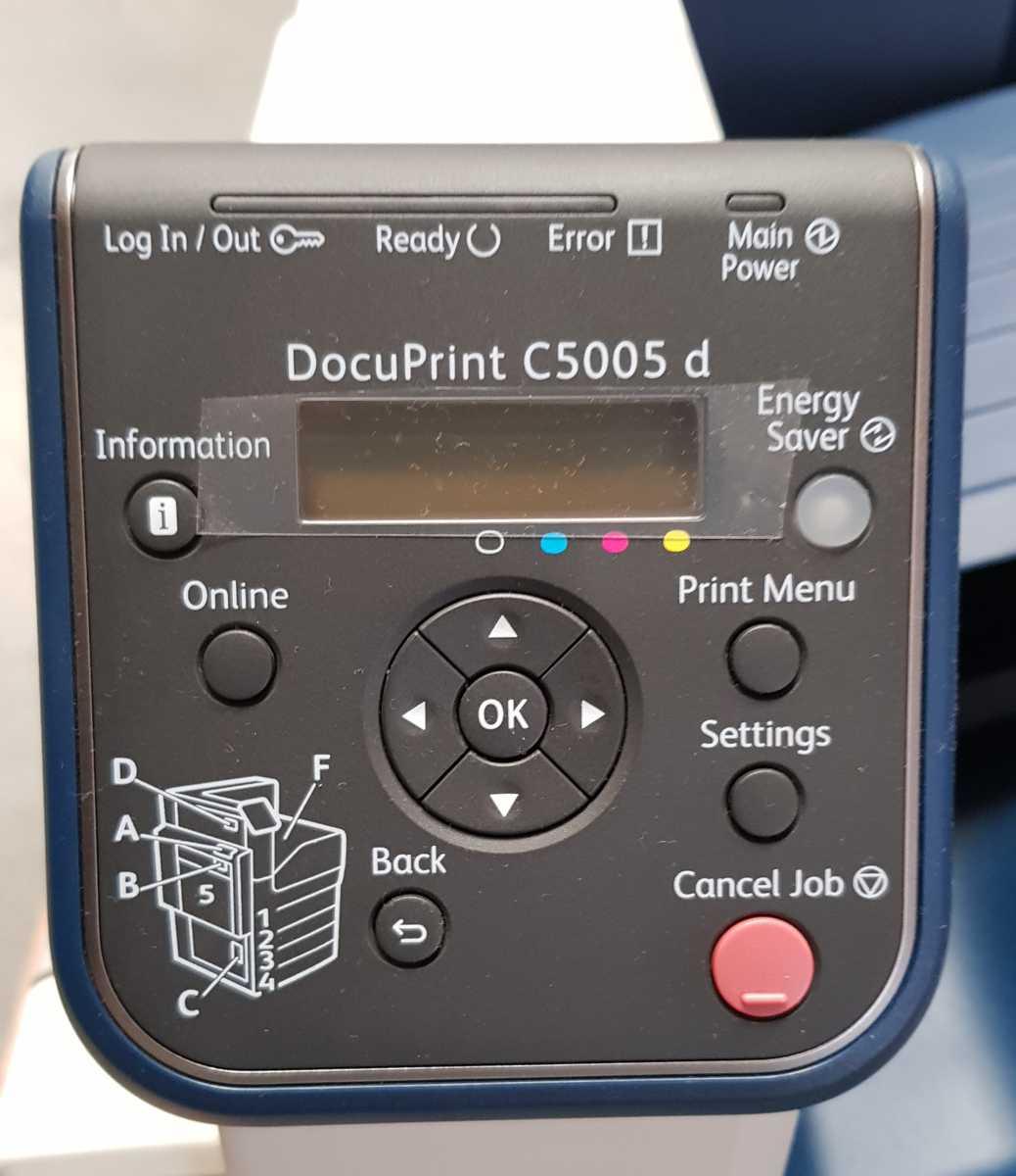 Xerox C5005d - Control panel still has plastic protector on it