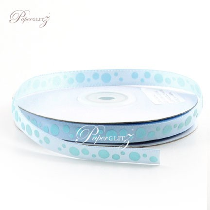 10mm Satin with Raised Dots - 25Mtr Roll - Blue Vapor