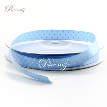 10mm Satin with White Polka Dots - 25Mtr Roll - Blue Mist