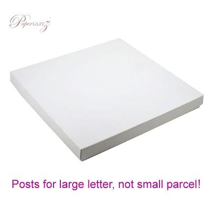 160x160mm Square Invitation Box - Crystal Perle Metallic Diamond White