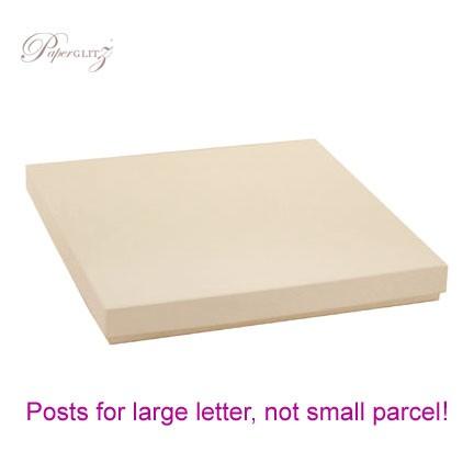 160x160mm Square Invitation Box - Crystal Perle Metallic Sandstone