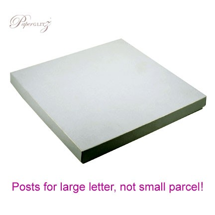 160x160mm Square Invitation Box - Crystal Perle Metallic Steele Silver