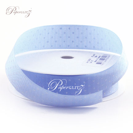 22mm Gros Grain with White Polka Dots - 20Mtr Roll - Baby Blue