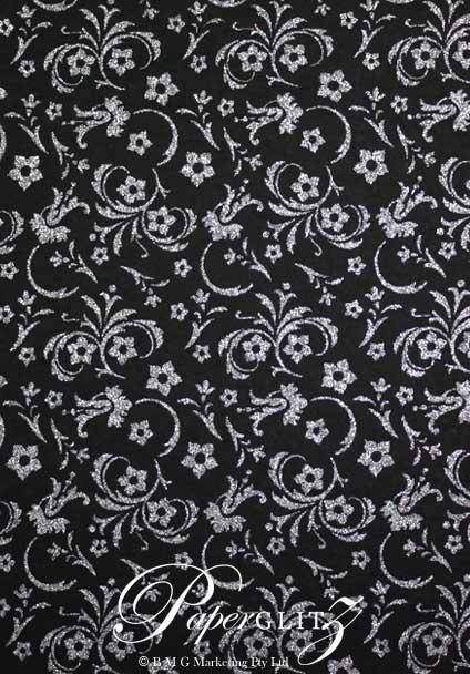 Petite Glamour Pocket - Glitter Print Amelia Black & Silver Glitter
