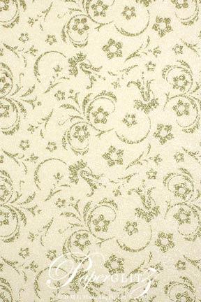 Handmade Chiffon Paper - Amelia Ivory Pearl & Gold Glitter Full Sheets (56x76cm)