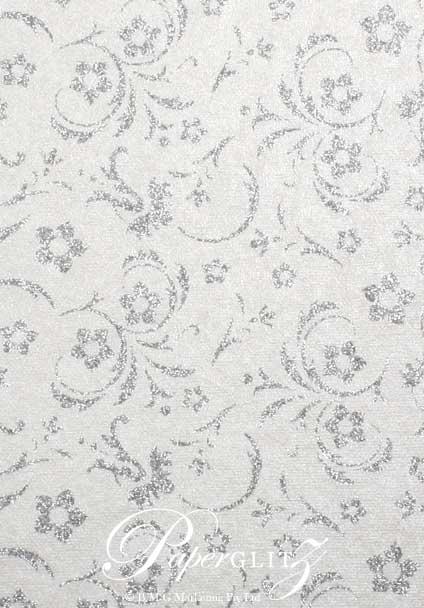 Handmade Glitter Print Paper - Amelia White Pearl & Silver Glitter A4 Sheets