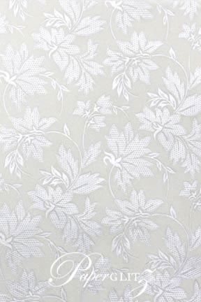 Handmade Chiffon Paper - Autumn White Pearl & Silver Foil Full Sheets (56x76cm)
