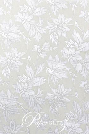 Handmade Chiffon Paper - Autumn White Pearl & Silver Foil A4 Sheets