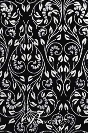 Handmade Glitter Print Paper - Black Floral Glitter A4 Sheets