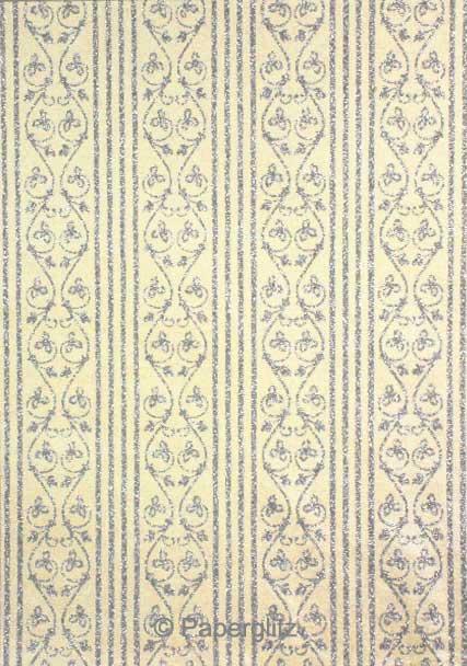 Handmade Glitter Print Paper - Bliss Ivory Pearl & Silver Glitter Full Sheets (56x76cm)
