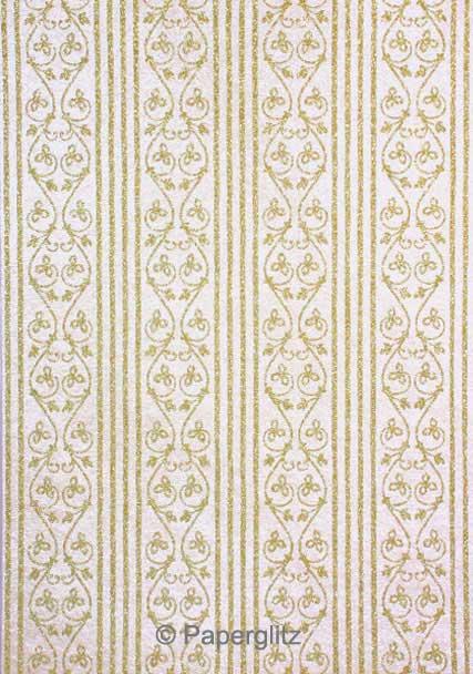 Handmade Glitter Print Paper - Bliss White Pearl & Gold Glitter A4 Sheets