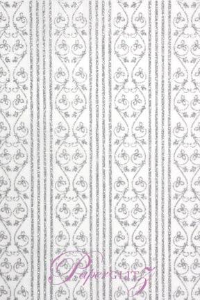 Handmade Chiffon Paper - Bliss White & Silver Glitter Full Sheets (56x76cm)