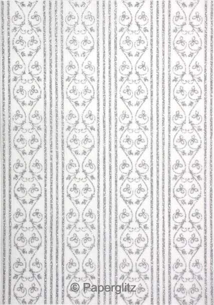 Handmade Glitter Print Paper - Bliss White Pearl & Silver Glitter A4 Sheets