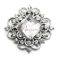 Brooch - Victorian Square Clear