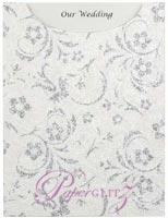Glamour Pocket C6 - Glitter Print Amelia White Pearl & Silver Glitter