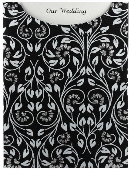 Glamour Pocket C6 - Glitter Print Black Floral Glitter