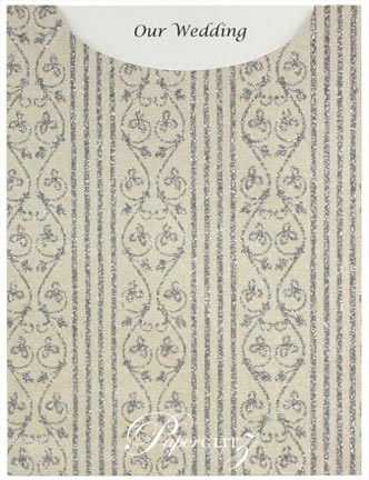 Glamour Pocket C6 - Glitter Print Bliss Ivory Pearl & Silver Glitter