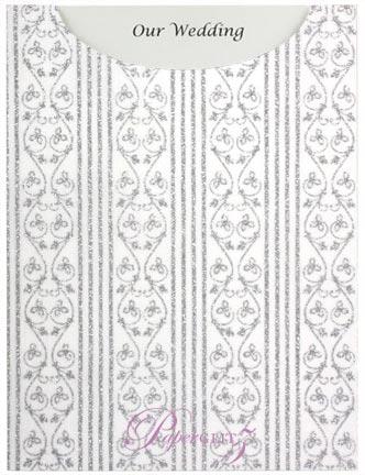 Glamour Pocket C6 - Glitter Print Bliss White Pearl & Silver Glitter