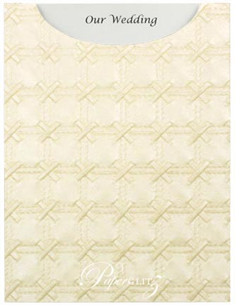 Glamour Pocket C6 - Embossed Cross Stitch Ivory Pearl