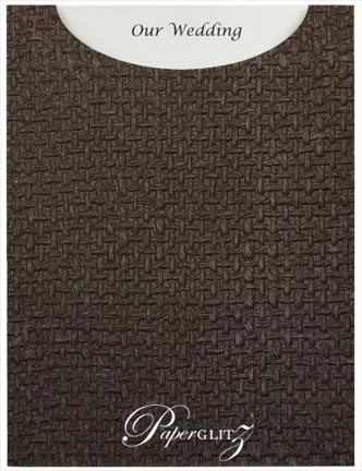 Glamour Pocket C6 - Embossed Jute Chocolate Pearl