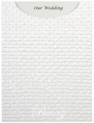 Glamour Pocket C6 - Embossed Jute White Pearl
