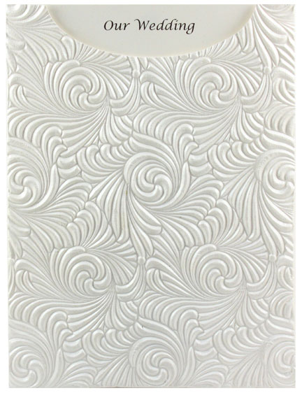 Glamour Pocket C6 - Embossed Majestic Swirl White Pearl