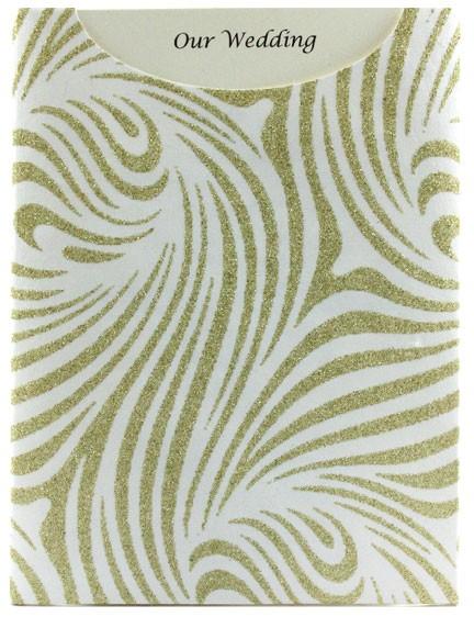 Glamour Pocket C6 - Glitter Print Venus White & Gold Glitter
