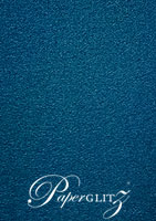 120x175mm Scored Folding Card - Classique Metallics Peacock Navy Blue