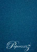 14.85cm Square Flat Card - Classique Metallics Peacock Navy Blue