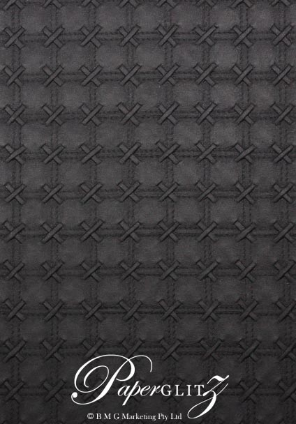 Glamour Add A Pocket 9.9cm - Embossed Cross Stitch Black Pearl
