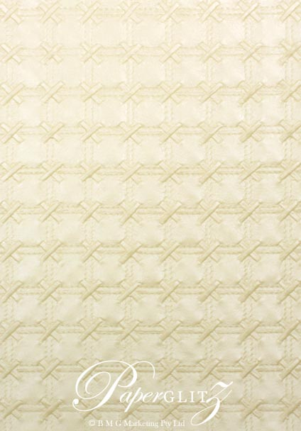 Glamour Add A Pocket 9.9cm - Embossed Cross Stitch Ivory Pearl