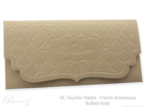 DL Voucher Wallet - French Arabesque Buffalo Kraft Board 283gsm