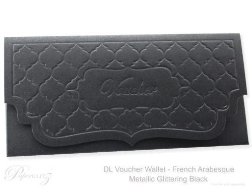DL Voucher Wallet - French Arabesque Crystal Perle Metallic Glittering Black