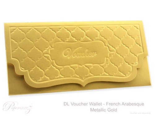 DL Voucher Wallet - French Arabesque Crystal Perle Metallic Gold