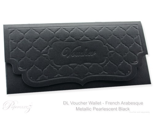 DL Voucher Wallet - French Arabesque Crystal Perle Metallic Licorice Black