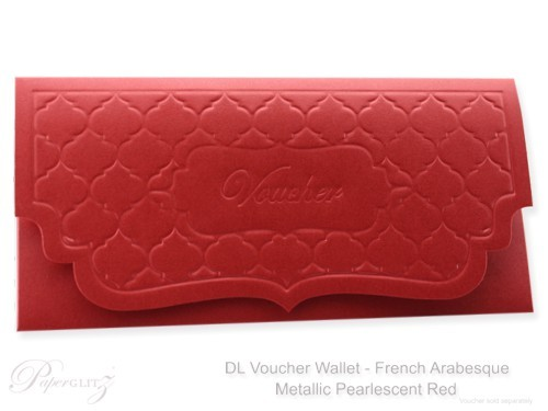 DL Voucher Wallet - French Arabesque Crystal Perle Metallic Scarlet Red