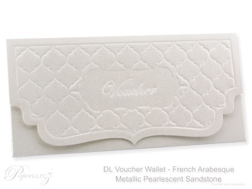 DL Voucher Wallet - French Arabesque Crystal Perle Metallic Sandstone