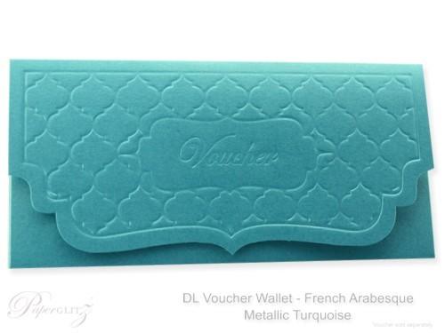 DL Voucher Wallet - French Arabesque Classique Metallics Turquoise