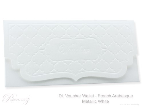 DL Voucher Wallet - French Arabesque Crystal Perle Metallic Diamond White