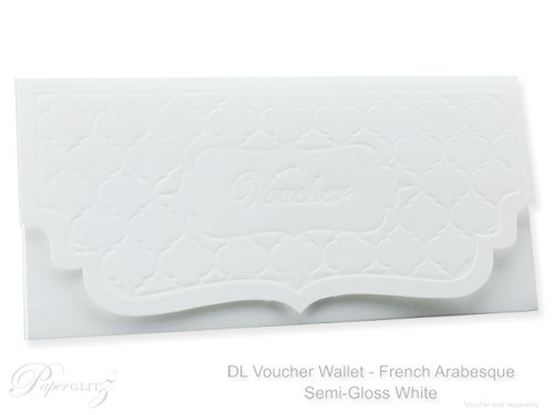 DL Voucher Wallet - French Arabesque Semi Gloss White 315gsm
