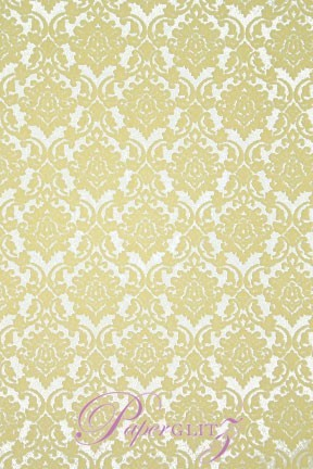 Handmade Flocked Paper - Damask Cream Flock on White Pearl A4 Sheets