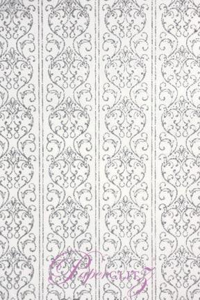 Handmade Chiffon Paper - Damask White & Silver Glitter A4 Sheets
