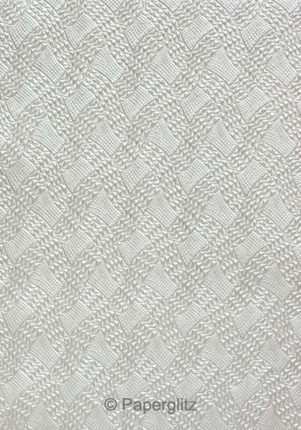Handmade Embossed Paper - Destiny Silver Pearl Full Sheet (56x76cm)