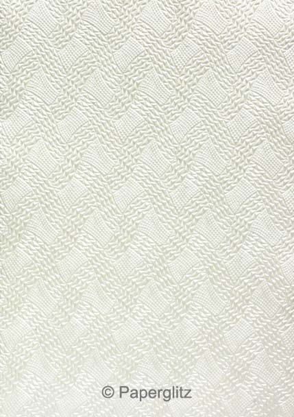 Handmade Embossed Paper - Destiny White Pearl Full Sheet (56x76cm)