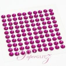 Self-Adhesive Diamantes - 4mm Round Fuchsia - Sheet of 100