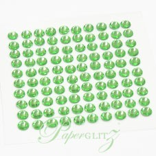 Self-Adhesive Diamantes - 4mm Round Lime Green - Sheet of 100
