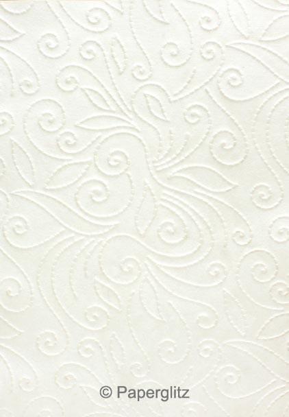 Handmade Embossed Paper - Elyse White Pearl Full Sheet (56x76cm)
