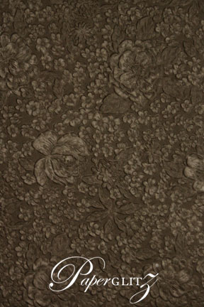 Glamour Pocket 150mm Square - Embossed Flowers Chocolate Pearl