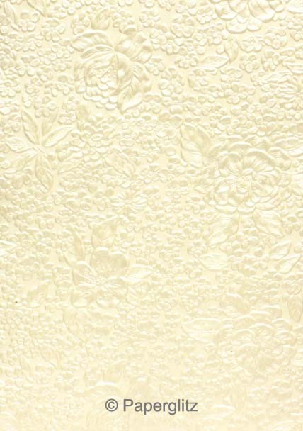 Handmade Embossed Paper - Embossed Flowers Ivory Pearl A4 Sheets